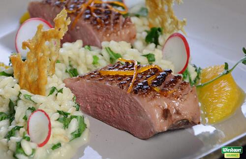 Entenbrustfilet mit Parmesan-Weißweinrisotto