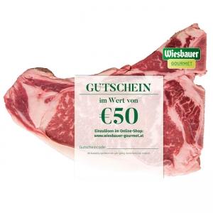 Gutschein € 50,- kaufen ➤ Wiesbauer-Gourmet € 50,- Gutschein kaufen! Gutschein schenken, Freude schenken. Jetzt online bestellen und binnen 24 h erhalten!