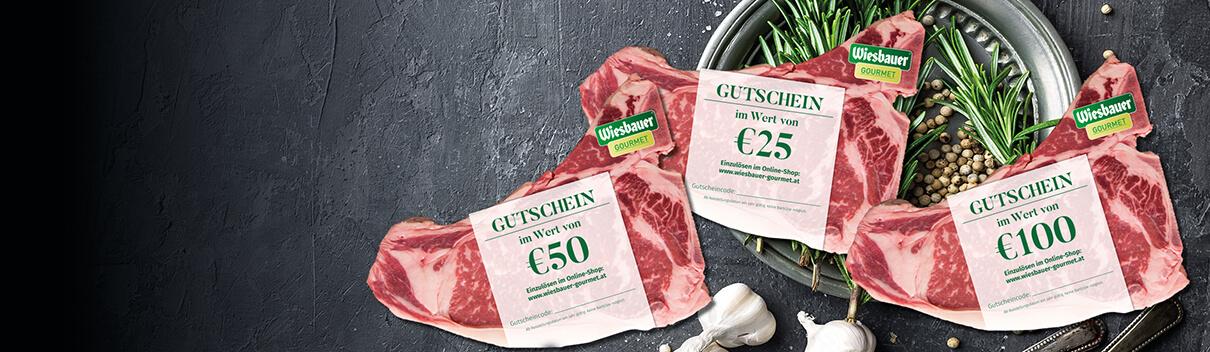 Gutscheine Wiesbauer Gourmet kaufen / Gutscheine in € 25 / € 50 / €100 direkt im Online Shop kaufen / online bestellen! Gutschein schenken, Freude schenken!