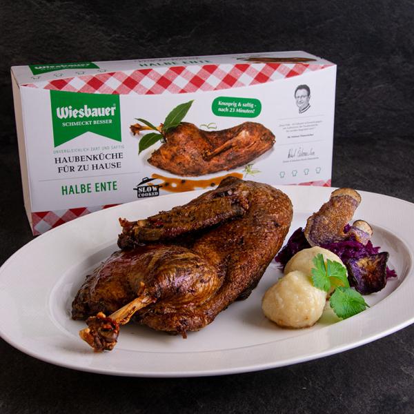 Halbe Ente Sous Vide vorgegart von Wiesbauer online bestellen. Halbe vorgegarte Sous Vide Ente online kaufen. Ente online bestellen vorgegart.