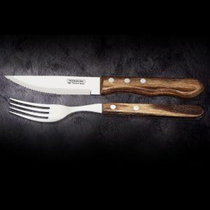 TRAMONTINA Steakbesteck Jumbo braun 12 teilig ➤ Die besten Steakmesser online kaufen ✓ robuste Stahlklinge ✓ scharfe Zähne ➤ 12 teiliges Steakbesteck kaufen