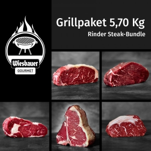 Rinder Steak Bundle 5,70 Kg / Grillpaket kaufen / Grillfleisch online kaufen. Jeweils 3 mal 3 x Cultbeef Rumpsteak, Filet, Ribeye, Cultbeef T-Bone, Beiried