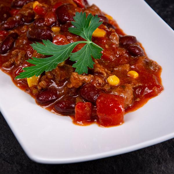 Chili con Carne kaufen ✓ 700 g für 1 Person - absolut gelingsicher und servierfertig in wenigen Minuten. Chili con Carne Zubereitung im Topf oder Mikrowelle