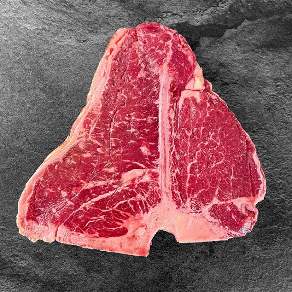 Rinder Porterhouse Steak Irland 500g = 1Stk. ✓ Porterhouse Steak kaufen aus Irland ✓ Lieferung in 24 h ✓ Kühlbox mit garantierter Kühlkette
