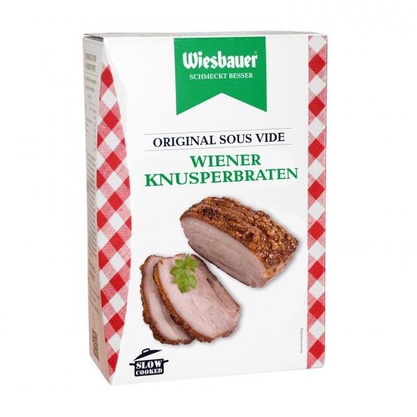 Wiener Knusperbraten 300 g kaufen ➤ gelingsischeren, Schweinebraten kaufen bei Wiesbauer. Sous-vide Schweinsbraten, servierfertig in nur wenigen Minuten.