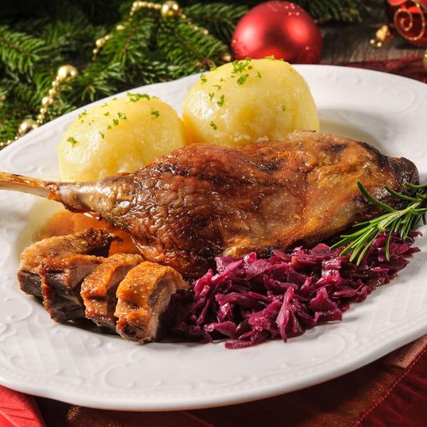 Weihnachtsente halbiert Wiesbauer Gourmet. Halbe Ente Sous Vide vorgegart - mindestens 800g = 1 Stk. Ente halbiert