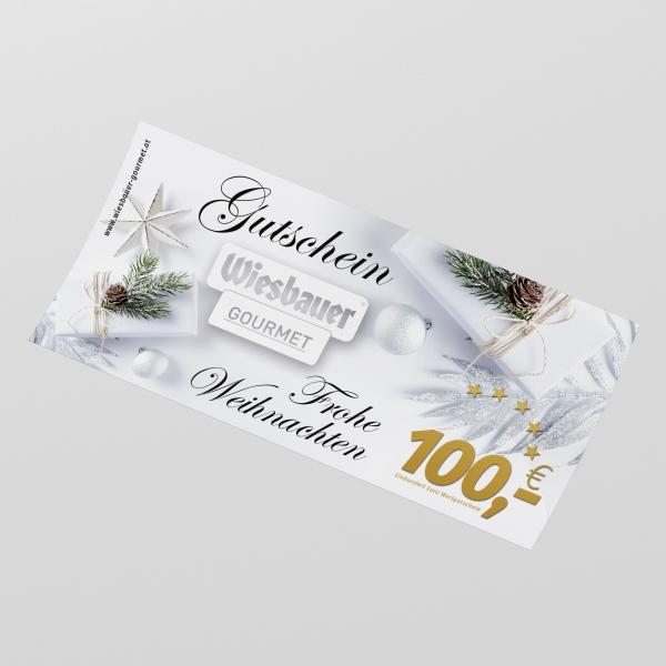 Wiesbauer Gutschein € 100,- kaufen ➤ Weihnachts Geschenk kaufen! Gutschein schenken, Freude schenken. Jetzt online bestellen!