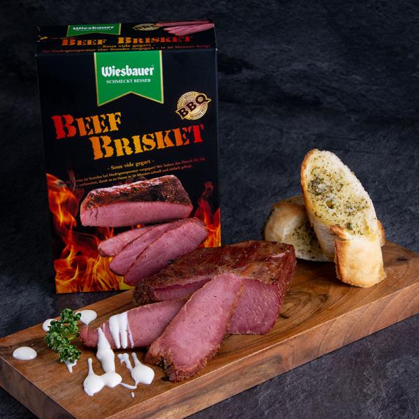 Beef Brisket Sous Vide 340 g bestellen ➤ Beef Brisket fertig online kaufen. Zubereitung in Pfanne oder Grill. Beef Brisket von Wiesbauer!