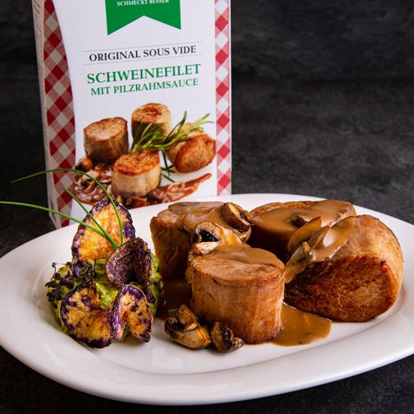 Original Sous Vide Schweinefilet mit Pilzrahmsauce 550 g ➤ Sous Vide Fertiggericht von Wiesbauer - Schweinefilet mit Pilzrahmsauce kaufen!
