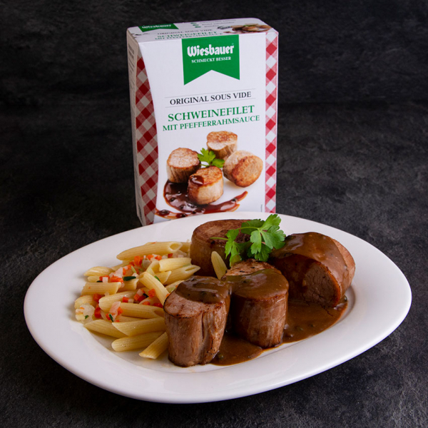Original Sous Vide Schweinefilet mit Pfefferrahmsauce 550 g ➤ Wiesbauer Sous Vide Fertiggericht. Schweinefilet mit Pfefferrahmsauce kaufen!