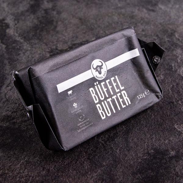 Büffel Butter 125 g kaufen aus frischer Büffelmilchsahne, handgeklopft mit cremiger, luftige Konsistenz.